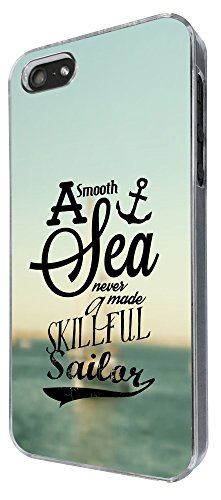 824 - A smooth Sea Never made a skillful Sailor Design iphone 4 4S Coque Fashion Trend Case Coque Protection Cover plastique et métal