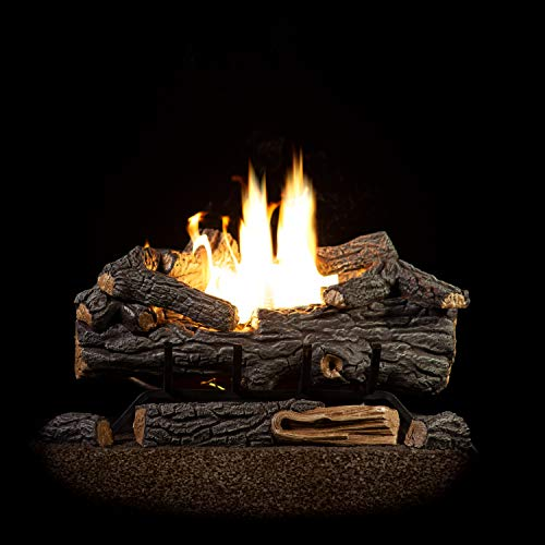 Vent Free Dual Burner Log Set for Liquid Propane Fueled Fireplace, 18
