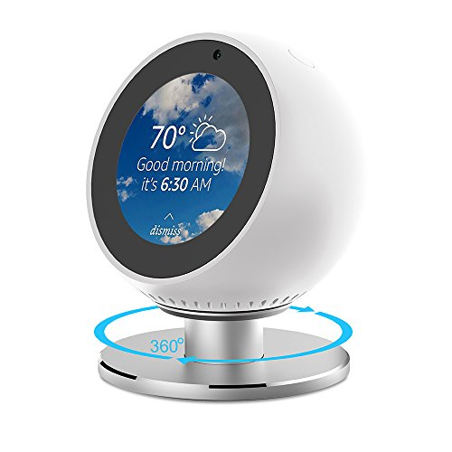 ANCOOL Compatible with Echo Spot Stand Adjustable Viewing Angle 360 Degree Rotation Full Aluminum Stand Mount with Strong Magnetic and Precision Bearings Bracket Replacement for Echo Spot-Silvery