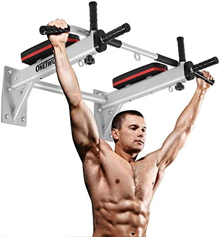 ONETWOFIT Pull Up Bar Wall Mounted Chin Up Bar Home Gym Body Workout Bar for Indoor and Outdoor Use,Maximum Weight 330lbs