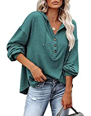 WELINCO Women's Long Sleeve Deep V Neck Henley Shirts Button Down Drawstring Sweatshirt Hoodies Pullover Tops