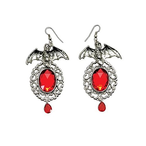 Vintage Charm Halloween Vampiress Bat Earrings