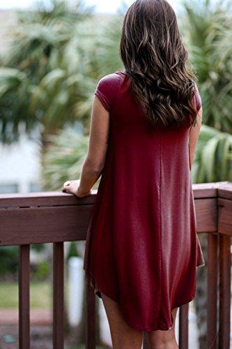 Weinrot Kleid T LILBETTER beiläufige Damen Shirt lose Kurzarm Tvv0qU