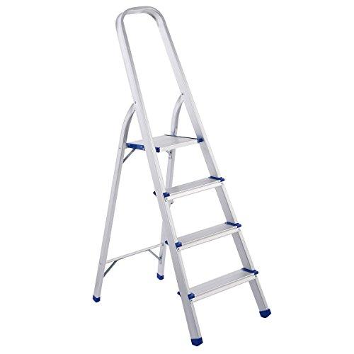 Giantex 4 Step Aluminum Foldable Non-slip Ladder 300lbs Lightweight Home Office Portable