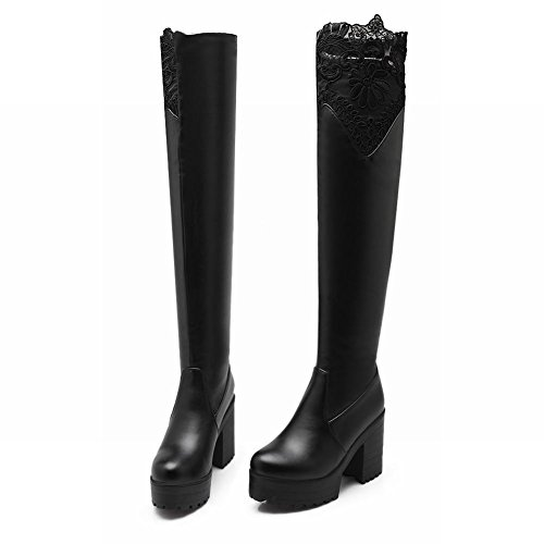 Latasa Womens Fashion Lace Block High-heel Platform Pull-on Over-the-knee Dress Boots Black SupkoU6A0