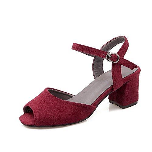 VogueZone009 Women's Kitten Heels Solid Buckle Peep Toe Sandals Claret cR0KL7jn