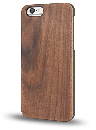 """iPhone 6/6s Wooden Case, OTTII Genuine Walnut Wood Case for iPhone 6/6s (4.7"""") - Handmade Wood & Slim Durable Polycarbonate Bumper"""