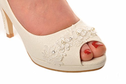 Blanc Brillant Scintiller Peep-Toe Aiguille Talons de Mariage Chaussures de Mariee Talons du Soir