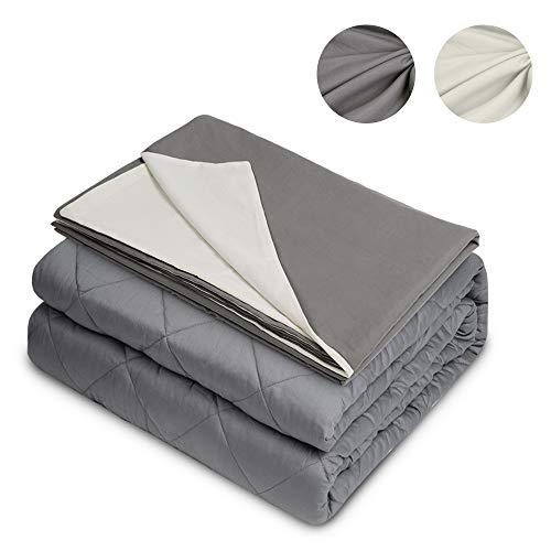 Admitrack Weighted Blanket 18lbs, 2.0 Heavy Blanket, Premium Organic Cotton Material with Glass Beads for Adult Kids (Grey2, 60''x80'', 18lbs for ()