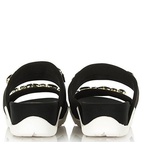 ASH Oman-Schwarz-2 Bar Jewelled Sandale Black Fabric