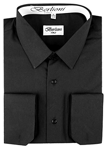 Dress Little Black Convertible (Berlioni Italy Men's Convertible Cuff Solid Dress Shirt Black-L (16-16½) Sleeve 36/37)