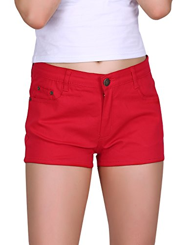 HDE Women's Solid Color Ultra Stretch Fitted Low Rise Moleton Denim Booty Shorts (Red, Large)