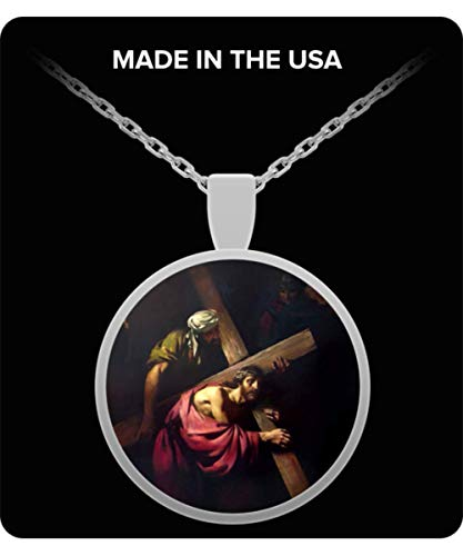 Schur-Link Brands Jesus Carries His Cross Silver-Plated Pendant Necklace