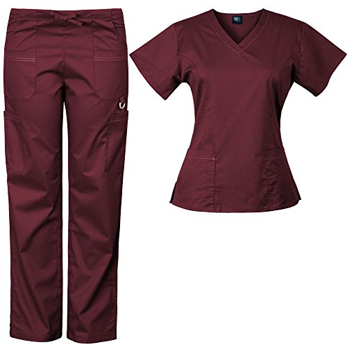 Medgear Women's Solid Scrubs Set Eversoft 2-Way Stretch Fabric 7895ST (L, Burgundy)