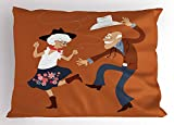 Lunarable Country Pillow Sham, Senior Old Couple with Western Costumes Dancing Partying Square Dance Contradance, Decorative Standard King Size Printed Pillowcase, 36 X 20 inches, Multicolor