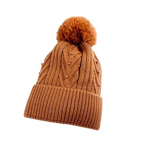 TOTAMALA Women Winter Warm Curling Button Cap Hat Thickened Knitted Ball Cap Skullies Beanies