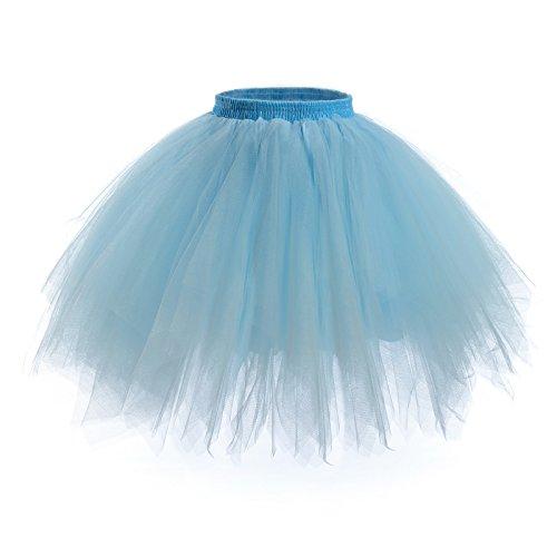 Womens Short Ballet Tutu Skirt - Elastic Vintage Petticoat Adult Bubble Skirt (Light Blue-XL