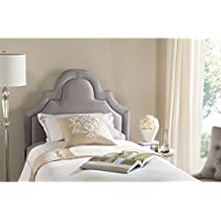 Safavieh Kerstin Arctic Grey Cotton Blend Upholstered Arched Headboard (Twin)