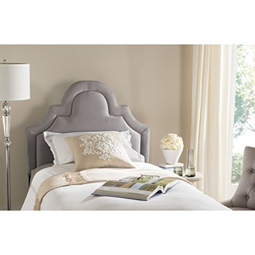 Safavieh Kerstin Arctic Grey Cotton Blend Upholstered Arched Headboard (Twin) by Safavieh (Image #4)