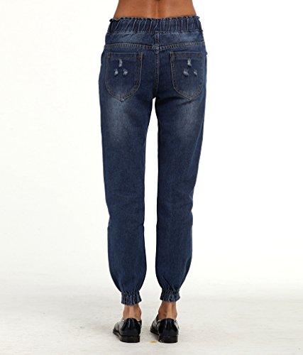 Pantalones Jeans Profundo Jeans WanYang Elásticos Cintura Vaqueros Rotos Skinny Alta Mujer Leggings Azul Flacos wIIpcqtfg