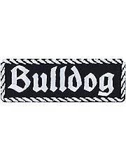 Bulldog patch, biker, opstrijkbaar, hond, motorfiets, strijkplaatje, rocker sticker, heavy metal, cadeau voor mannen/vrouwen, doe-het-zelf-applicatie voor jas, vest, jeans, motorkoffer, 100 x 35 mm