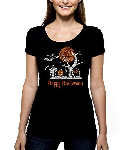 Halloween Graveyard With Moon RHINESTONE T-Shirt Shirt Tee Bling - Spooky Holiday Costume Party Grim Reaper Headstone RIP Bats Pumpkin Jack-o-Lantern - Pick Shirt Style - Scoop Neck V-Neck Crew Neck