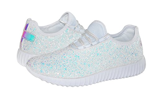 Women Lace Fashion Up Quilted Jogger ROXY White Tongue ROSE Lightweight Elastic Glitter Sneaker Shoes 6wqn45nA