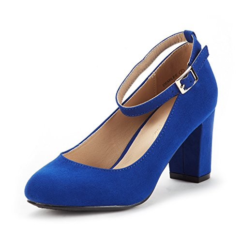 DREAM PAIRS Women's Demilee Royal Blue High Chunky Heel Pump Shoes Size 7.5 B(M) US