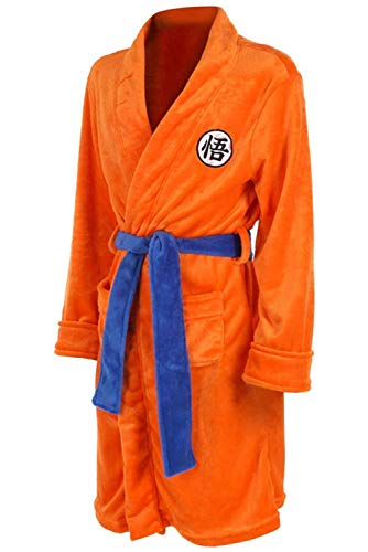 UU-Style Dragon Ball Z Super Saiyan Son Goku Bathrobe Pajama Nightwear Sleepwear Kimono Robe (Large) Orange]()