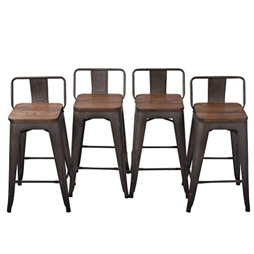 Tongli Metal Barstools Set Industrial Counter Stool (Pack of 4) Patio Dining Chair Wooden Seat Low Back 24""