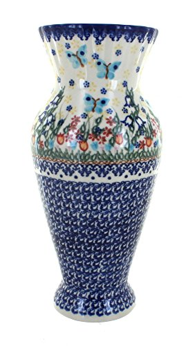 Polish Pottery Garden of Eden Tall Vase (Painted Pottery Vase)