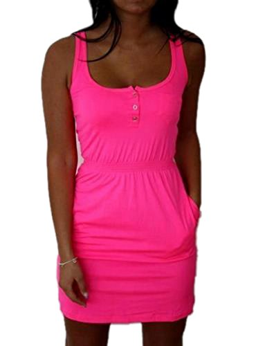 xiaoming Women Casual Sleeveless Bodycon Summer Beach Mini Dress Sundress Pink (Pink Sundress Dress)