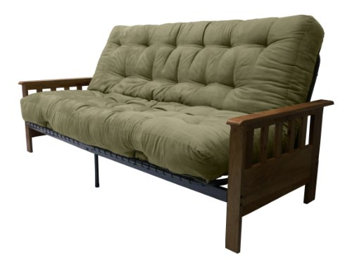 Portland 10-Inch Inner Spring Futon Sofa/Sleeper Bed, Full, Walnut Arms Suede Olive Green - Portland Premium Outlet Stores