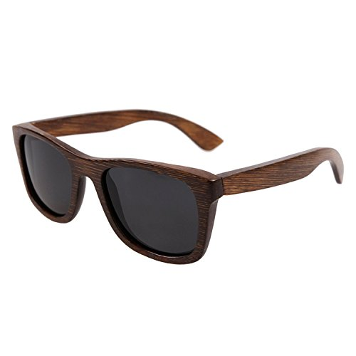 JapanX Bamboo Sunglasses & Wood Wooden Sunglasses for Men Women, Polarized Lenses with Gift Box – Wooden Vintage Wayfarer Sunglasses - Bamboo Wood Wooden Frame – New Style Sunglasses (A7 - Japanese Wooden Glasses Frames