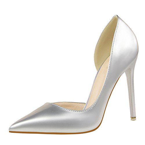 Eté Femme Ouvert Côté Chaussures Diamant Pointu Sexy Oaleen Escarpin Argené Haut Bout Vernis Aiguille Talon q4ATqRt