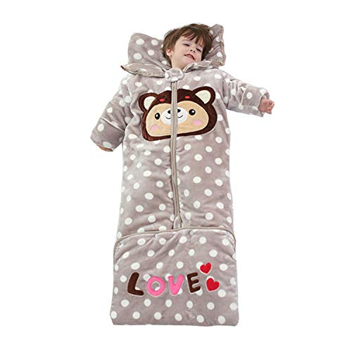 Polka-dot Flannel Extended Sleeping Bag, Children's Pajamas, Autumn and Winter Thick Jumpsuit