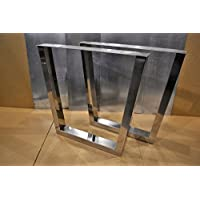 Polished Stainless Chrome Table Legs, Rectangular Tapered Style - Any Size!