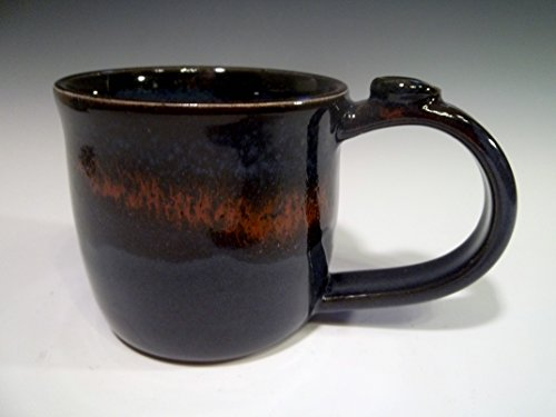 Handmade Stoneware Ceramic Coffee Mug Pottery in Midnight Blue with Lava Red Cascade