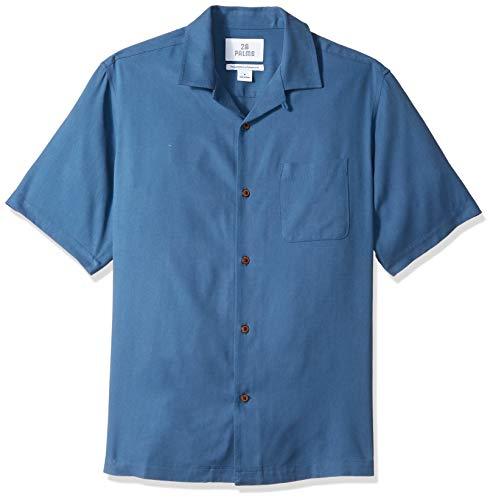 28 Palms Men's Relaxed-Fit 100% Silk Camp Shirt, Deep Ocean Blue, XX-Large