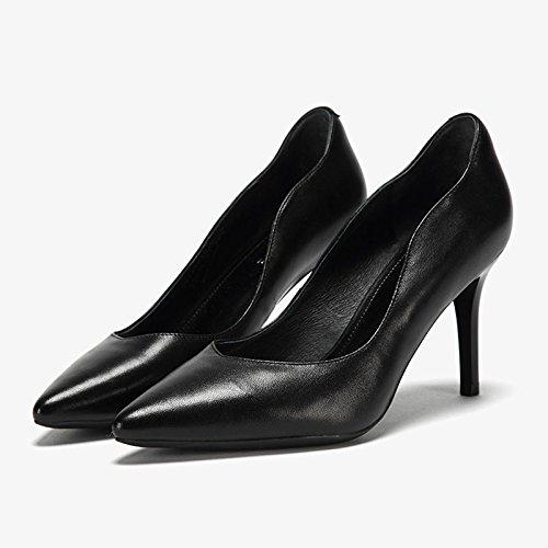 Parti Soirée Chaussures Noir MHSXN Stiletto Confortable Noir Pointu Pompes Mode Chaussures Womans Femme qxwvZtH