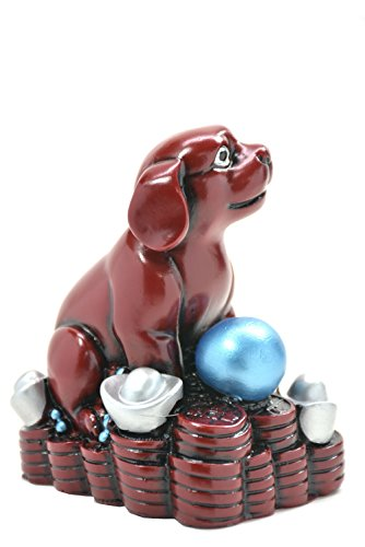 2018 Chinese year of dog Horoscope Chinese Zodiac Handmade Resin Dog siting coin and Ingot Collectible statue Figurine Sculpture (red/gold) Chinese Ingot