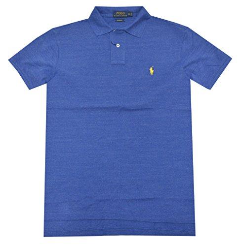 Polo Ralph Lauren Men Custom Fit Mesh Pony Logo Shirt (XX-Large, Sapphire heather) by Polo Ralph Lauren