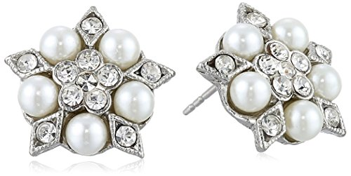 Downton Abbey Silver-Tone Crystal and 4mm Faux Pearl Stud Earrings