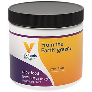 The Vitamin Shoppe From the Earth Greens, Superfood Perfect for Smoothies, Natural Green Superfood with Organic Wheat Barley Grass Powder (5.25 Ounces Powder)