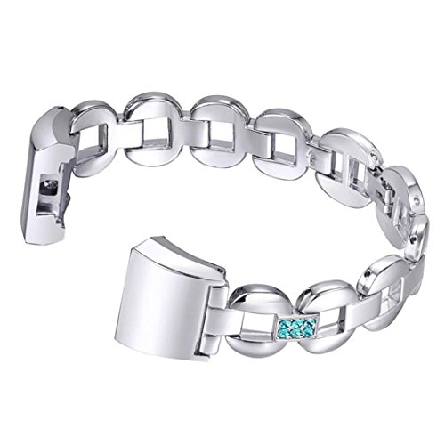 Alonea Crystal Stainless Steel Watch Band Wrist strap For Fitbit charge 2 (B)