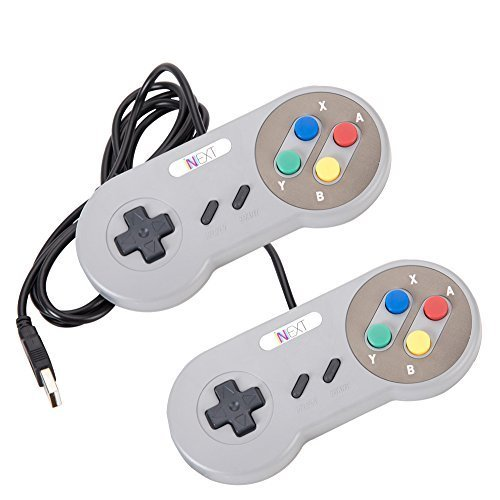 9' Classic Pie - New SNES Super Nintendo Controller , Retro USB Super Classic Controller for PC/Mac (Multi Colored Keys) (Pack of 2)