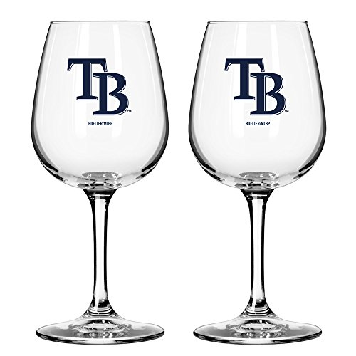(MLB Tampa Bay Rays Game Day Wine Glass, 12-ounce, 2-Pack )