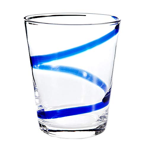 Swirl Double Old Fashioned - Impulse Crazy Rocks Hand-Crafted Glass, Blue, Set of 6