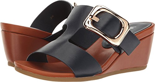 Vaneli Women's Danel Navy Nappa/Tan Super Calf/Gold Buckle Wedge