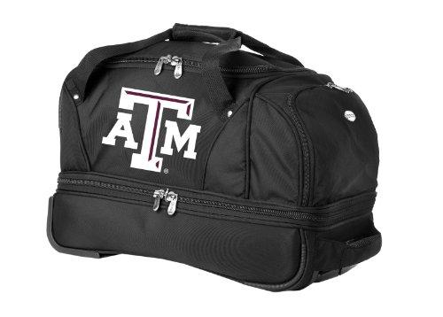ncaa-texas-am-aggies-denco-22-inch-drop-bottom-rolling-duffel-luggage-black